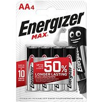 Energizer Max Alkaline Batteries AA 4 Pack