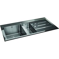 Wickes Rae 1.5 Bowl Rhd Kitchen Sink Stainless Steel + Black Glass