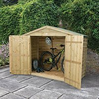 Forest Garden Overlap Timber Bike Store Pressure Treated with Assembly - 7 x 3 ft