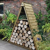 Forest Garden Overlap Timber Pinnacle Log Store - 5 x 21 ft