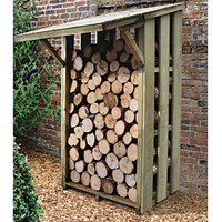 Forest Garden Timber Flip Roof Log Store Small - 4 x 4 ft