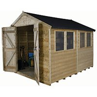 Forest Garden Apex Tongue & Groove Pressure Treated Double Door Shed 8 x 10 ft