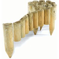 Rowlinson Easy Fix Spiked Timber Half Log Border Roll Pack of 2 - 1800 x 150 mm