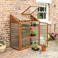 Rowlinson Polycarbonate Glazing Brown Timber Framed Mini Greenhouse - 2 x 2 ft