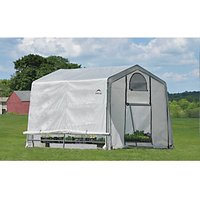 Shelterlogic White Uv-treated Polyethylene Cover Steel Frame Apex Greenhouse - 10 x 10 ft