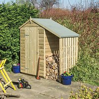 Rowlinson Oxford Apex Shiplap Shed with Side Storage - 4 x 3 ft