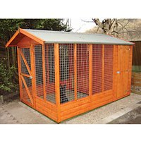 Shire Timber Apex Dog Kennel & Sheltered Run Honey Brown - 7 x 13 ft
