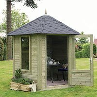 Forest Garden Henley Black Shingle Roofed Hexagonal Summerhouse - 11 x 10 ft - With Assembly