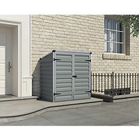 Palram Voyager Plastic Pent Shed with Base Grey - 4.5 x 3 ft