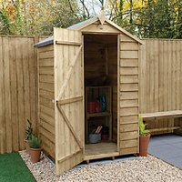 Wickes Apex Overlap Pressure Treated Windowless Shed - 4 x 3 ft with Assembly