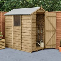 Wickes Apex Overlap Pressure Treated Shed - 4 x 6 ft with Assembly