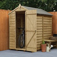 Wickes Apex Overlap Pressure Treated Windowless Shed - 4 x 6 ft with Assembly