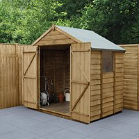 Wickes Apex Overlap Pressure Treated Double Door  Shed - 7 x 5 ft with Assembly