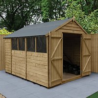 Wickes Apex Overlap Pressure Treated Double Door Shed - 8 x 10 ft with Assembly