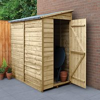 Wickes Pent Overlap Pressure Treated Windowless Shed - 3 x 6 ft with Assembly