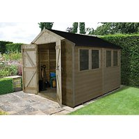 Forest Garden Apex Tongue & Groove Pressure Treated Double Door Shed - 8 x 10 ft with Assembly
