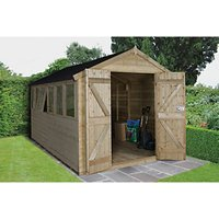Forest Garden Apex Tongue & Groove Pressure Treated Double Door Shed - 8 x 12 ft with Assembly
