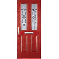 Euramax 2 Panel 2 Square Red Right Hand Composite Door 920mm x 2100mm