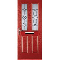 Euramax 2 Panel 2 Square Red Right Hand Composite Door 840mm x 2100mm