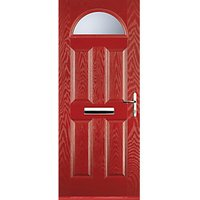 Euramax 4 Panel 1 Arch Red Left Hand Composite Door 920mm x 2100mm