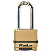 Master Lock Excell M175EURDLH 4 Digit Resettable Extra Long Shackle Brass Plated Padlock 50mm
