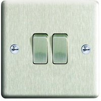 Wickes 10A Light Switch 2 Gang 2 Way Brushed Steel Raised Plate
