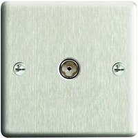 Wickes Coaxial Socket 1 Gang Brushed Steel Raised Plate