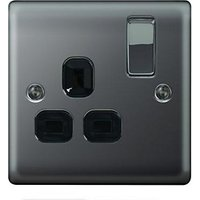 Wickes 13A Switched Socket 1 Gang Black Nickel Raised Plate