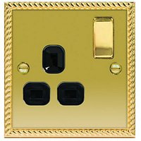 Wickes 13A Switched Socket 1 Gang Georgian Brass Raised Plate