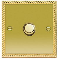 Wickes Dimmer Switch 1 Gang 2 Way 400W Polished Georgian Brass Raised Plate