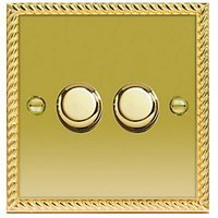 Wickes Dimmer Switch 2 Gang 2 Way 400W Polished Georgian Brass Raised Plate