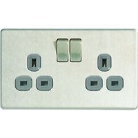 Wickes 13A Switched Socket 2 Gang Brushed Screwless Flat Plate