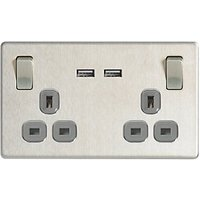 Wickes 13A Screwless Twin Switched Socket with 2 x 2.1A  USB Ports - Brushed Silver