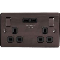 Wickes Black Nickel 13 Ampmp 2 Gang Switched Socket with 2 x USB Ports
