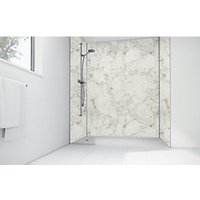 Wickes White Calacatta Laminate 900 x 900mm 2 Sided Shower Panel Kit