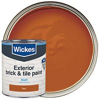 Wickes Exterior Brick & Tile Paint - Matt Red 750ml