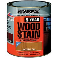 Ronseal 5 Year Woodstain - Natural Oak 750ml