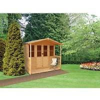 Wickes Houghton Apex Double Door Dip Treated Summerhouse with Veranda - 7 x 7 ft