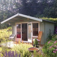 Shire Gisburn Double Door Log Cabin With Overhang - 12 x 8 ft