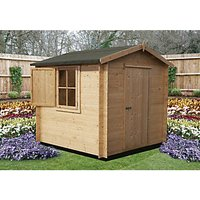 Shire Camelot Log Cabin With Shuttered Window - 8 x 8 ft - With Assembly