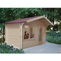 Shire Challock Log Cabin With Overhang - 10 x 8 ft - With Assembly
