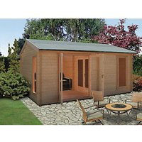 Shire Firestone 3 Room Double Door Log Cabin - 14 x 15 ft - With Assembly