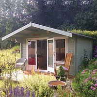 Shire Gisburn Double Door Log Cabin With Overhang - 10 x 10 ft - With Assembly