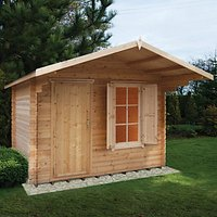 Shire Hopton Security Log Cabin With Shuttered Window - 10 x 12 ft - With Assembly