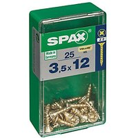 Spax Universal Zinc Yellow Screws 3.5 x 12mm Pack 25