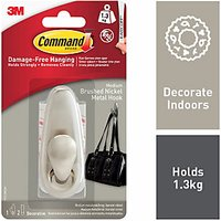 Command Forever Classic Medium Metal Hook Brushed Nickel