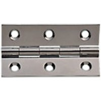 Wickes Butt Hinges Solid Brass Chrome Plated 63mm 2 Pack