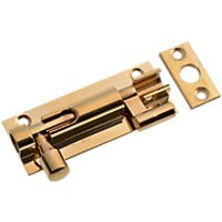 Wickes Necked Barrel Bolt Polished Brass Finish 63mm