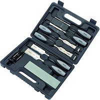 Wickes Powagrip Wood Chisel Set  Honing Guide & Sharpening Stone 8 Piece
