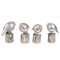 Set Of 4 Robins in Silver finish